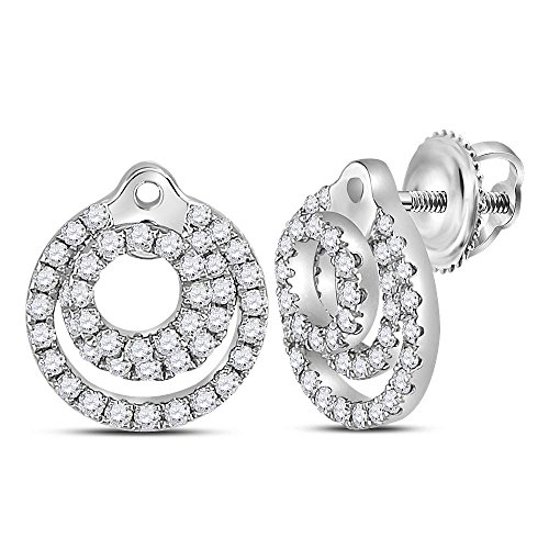 (Roy Rose Jewelry 14K White Gold Womens Round Diamond Circle Stud Earrings 1/2-Carat tw)