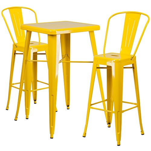 MFO 23.75'' Square Yellow Metal Indoor-Outdoor Bar Table Set with 2 Barstools with Backs