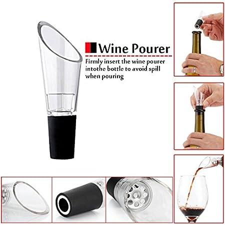 Sucute Juego de 4 sacacorchos, bomba de aire comprimido, abrebotellas, caja de regalo, incluye tapón de vacío y vertedor de vino, color negro