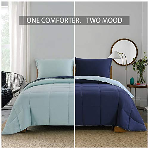 Homelike Moment Lightweight Comforter Set - Queen Navy Blue All Season Down Alternative Comforter Set Summer Duvet Insert 3 Piece - 1 Comforter with 2 Shams Reversible Full/Queen Size Navy/Light Blue