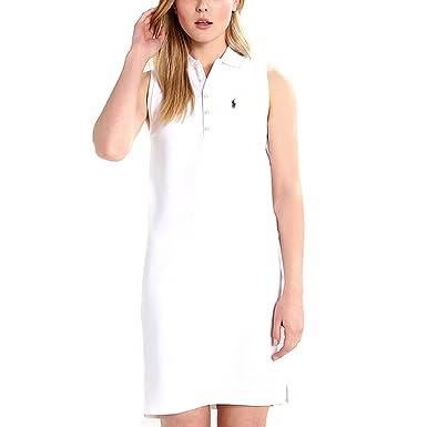 e5f4946ad296b Ralph Lauren New Genuine Womens Stretch Mesh Polo Dress - White (Large)   Amazon.co.uk  Clothing