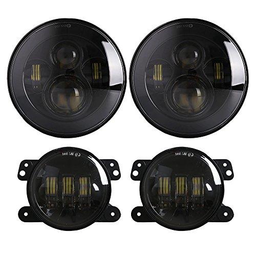 DOT Approved 7 inch Daymaker LED Headlight+ 4 inch Cree LED Fog Lights with H4-H13 wire harness adapter for Jeep Wrangler Unlimited JK 4 - door JK 2 Door LJ Unlimited TJ