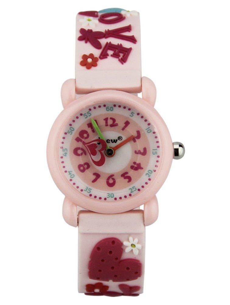 Cheamlion Kids Toddler Girls Pink Cute Love Elastic Analog Wrist Quartz Watch