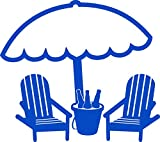 Cheap BEACH CHAIRS AND UMBRELLA 2 5″ WIDE DECAL BLUE – manufactured & sold by EYECANDY DECALS only