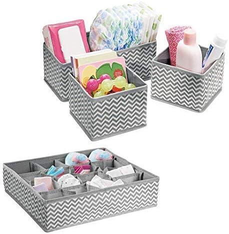 Vinkl - Organizador de Tela con Compartimentos para Cuarto de bebé, cajones, Armario, tocador, Mesa cambiadora, Juego de 4, Color Gris y Blanco: Amazon.es: Hogar