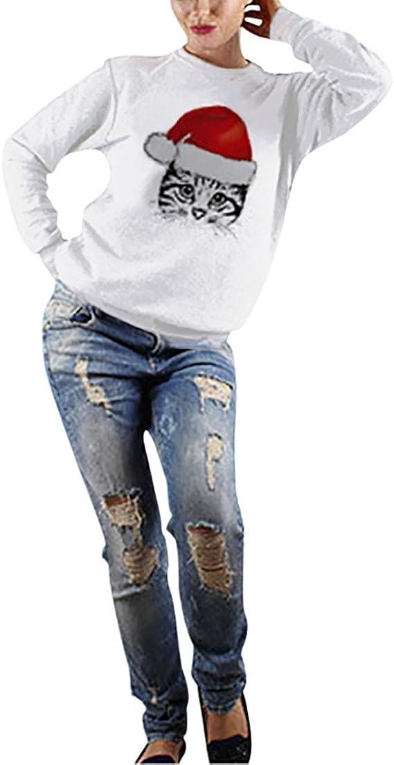 Vêtements Noël À Chat Shirts Pull Impression Capuche Taille Zezkt Sweats Shirt Col Rond Tops Grande Hoodie FemmeSweat Noir Sans T De Veste qSUzMGVp