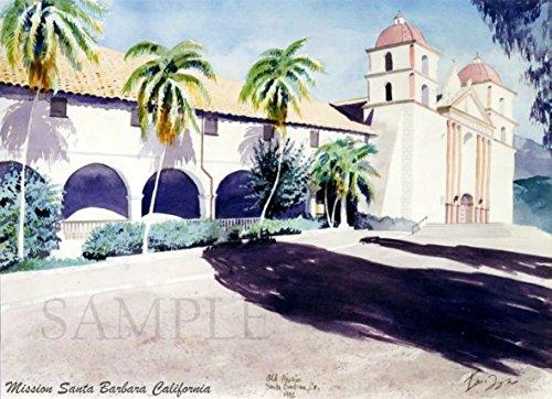 watercolor-painting-in-california-giclee-print-of-original-plein-air-watercolor-mission-santa-barbar