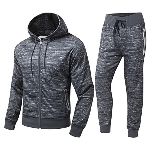 FZDX Men's Casual Athletic Sport Workout Hooded Zipper Tracksuit Sweat Set by FZDX