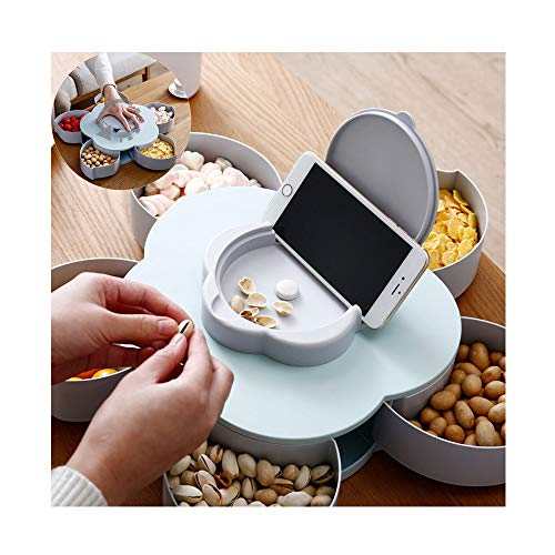 (JAWM Creative Flower Candy Box, Rotating Blooming Plum Blossom Fruit Bowl Dried Fruit Box with Mobile Phone Holder Blue )