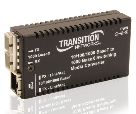 Transition Networks M/GE-PSW-SX-01-NA Stand-Alone - Fiber media converter - Ethernet, Fast Ethernet, Gigabit Ethernet - 10Base-T, 1000Base-SX, 100Base-TX, 1000Base-T - RJ-45 / SC multi-mode - up to 18 by Transition Networks