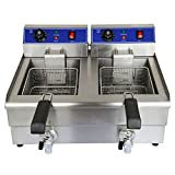 Deep Fryer 20L Deep Fryer Commercial Countertop Stainless Stee Electric Dual Tank Restaurant with Digital Timer and Drain by VALUE PLUS MORE