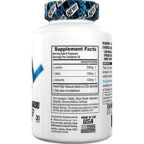 Evlution Nutrition BCAA5000, Branched Chain Amino Acids, Muscle Building Capsules with 5 Grams of BCAAs (30 Servings)