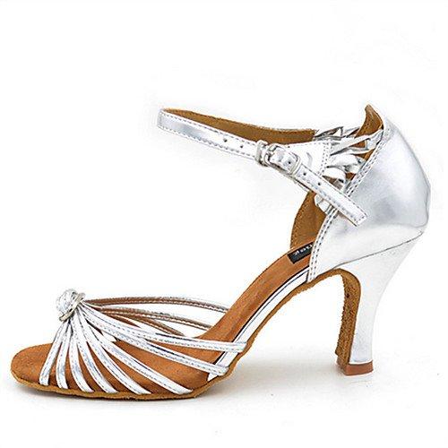 T.T-Q Chaussures de danse pour femme Similicuir Talon compensé Heel Talon Débutant Latin Sandals Salsa Jazz Tango Swing Pratique Indoor Performance argent M8odIGz8Gu