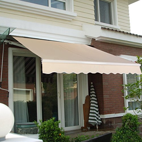 10' x 8' Manual Patio Retractable Deck Awning Sunshade ...
