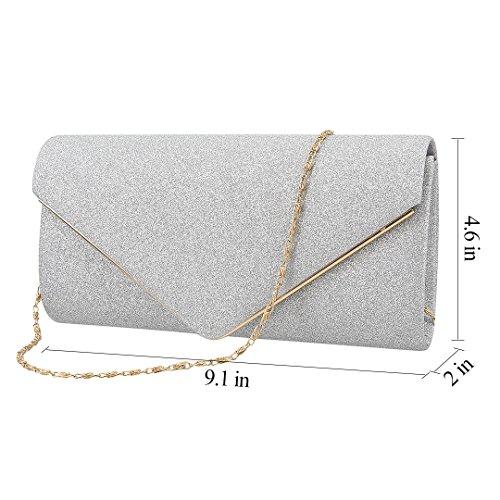 Silver Prom Womens Bag Clutch Purse Evening Handbag Wedding Envelop for Shiny Material Fabric Gabrine Party Sequins ZCxdqw66