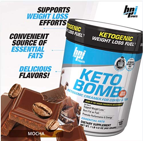 BPI Sports Keto Bomb Ketogenic Creamer for Coffee and Tea with MCT Oil, Saffron and Avocado Oil Powder to Support Weight Loss (Mocha, 18 Servings)