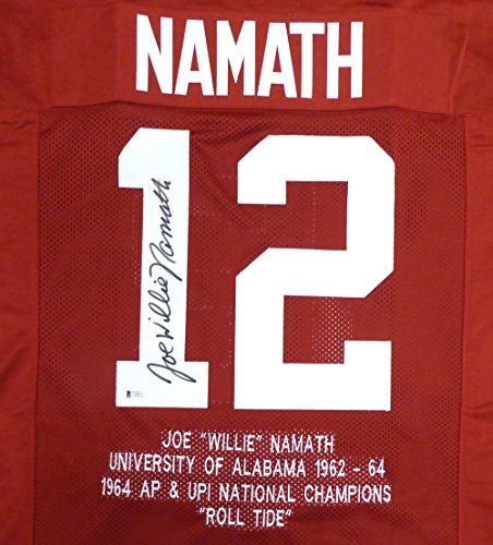 Alabama Crimson Tide Joe Namath Autographed Red Jersey