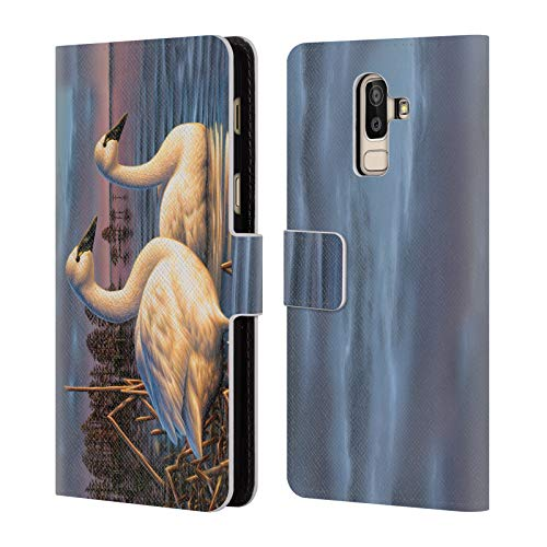 Official Chuck Black Evening Tundras Bird Art Leather Book Wallet Case Cover for Samsung Galaxy J8 (2018)