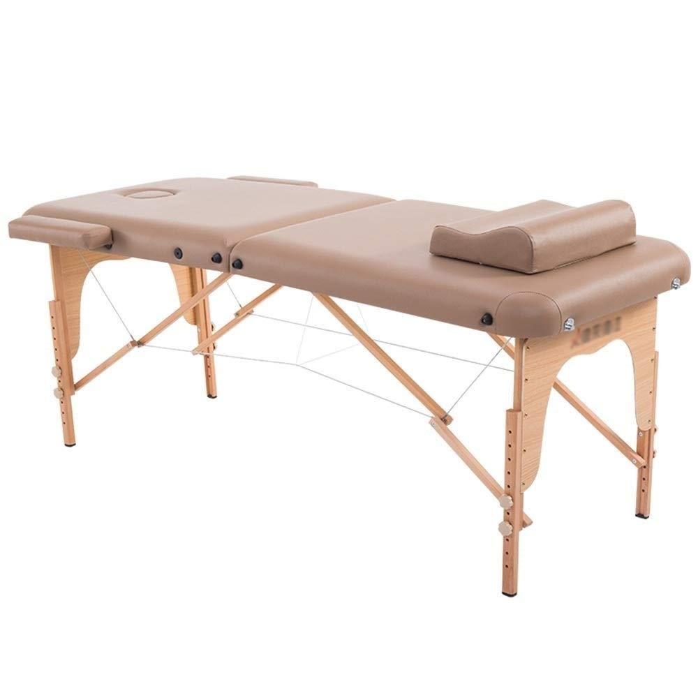 木製の足を搭載するマッサージのテーブルのベッドのソファのデラックスな専門家2セクション携帯用ベッドキャリングバッグ (Color : Khaki) B07T6LYCCV Khaki