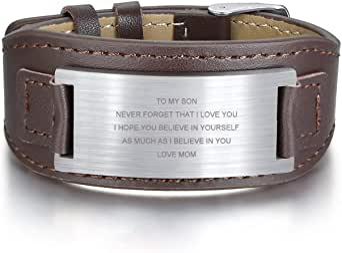 PJ JEWELLERY To My Son Gift Pulsera de piel con mensaje inspirador para hombres, cumpleaños, graduación, regalo para hijo de mamá y papá