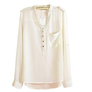 FTSUCQ Womens Chiffon V Neck Loose Shirt Blouse Top, White L