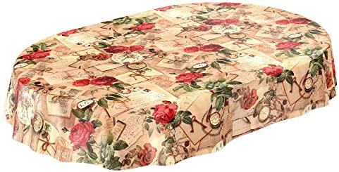 Anro – Tovaglia in tela cerata, motivo con rose, Plastica, Bordo di taglio., Oval 140 x 180cm