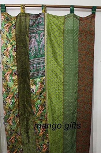 Mango Gifts India Old Sari Curtain Door Drape Green