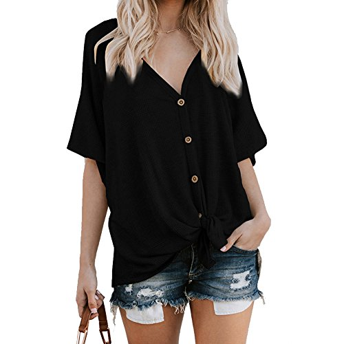 Kiess Womens Loose Blouse Short Sleeve V Neck Button Down T Shirts Tie Front Knot Casual Tops [Black L]