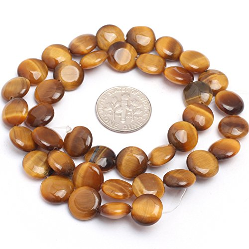 10mm Natural Semi Precious Coin Tiger Eye Gemstone Beads for Jewelry Making Strand 15