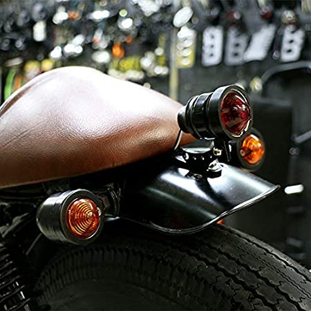 TOOGOO 1 Paio Moto Indicatore di Direzione Nero-Proiettile per Harley Kawasaki Cruiser Chopper Cafe Racer Ambra