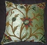 Crewel Pillow Tree of Life Pistachio Rayon Velvet (16X16)