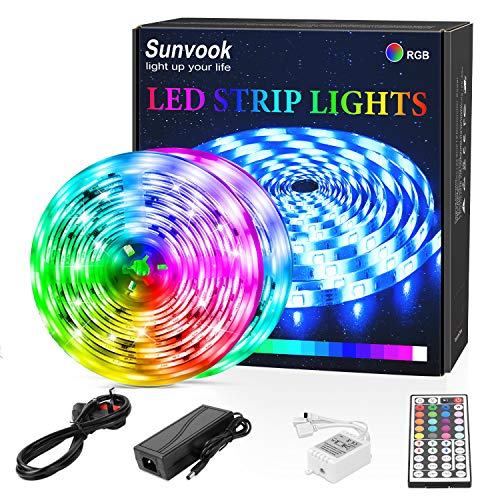 LED Strip Lights 10M, Sunvook Strips Light with Remote Color Changing Waterproof SMD5050 RGB LED Lights Strip with 44 Keys IR Remote Controller for Home, Bedroom, Kitchen, Christmas