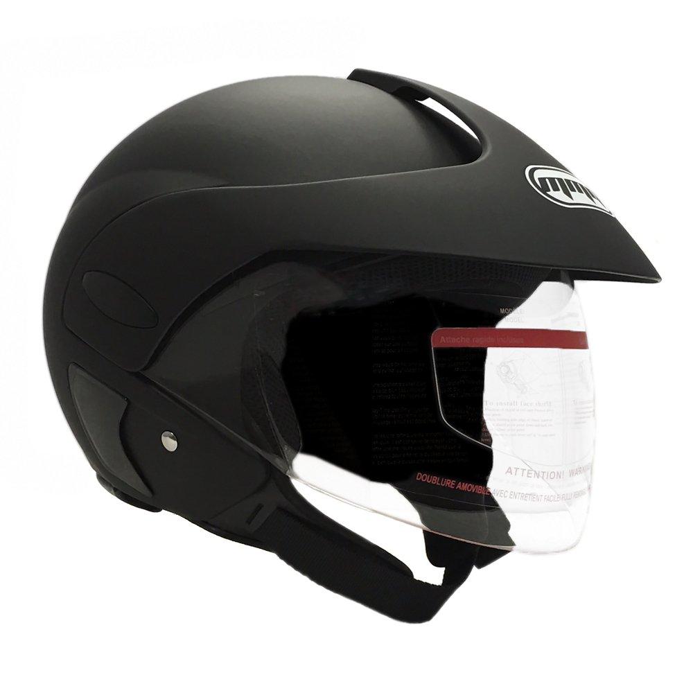 MMG Motorcycle Open Face Helmet DOT Street Legal - Flip Up Clear Visor - Matte Black 203 (Medium)