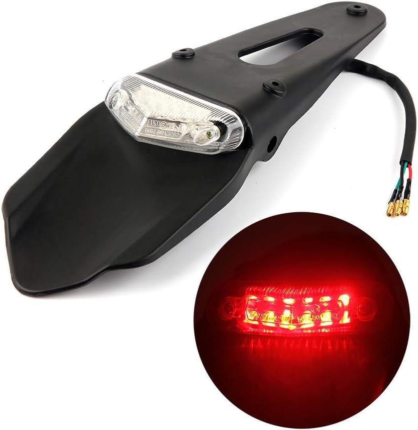 Guardabarros Trasero Con Luz Trasera De Freno LED Para Motocicleta De Motocross, Enduro, Todoterreno (Lens Transparent)