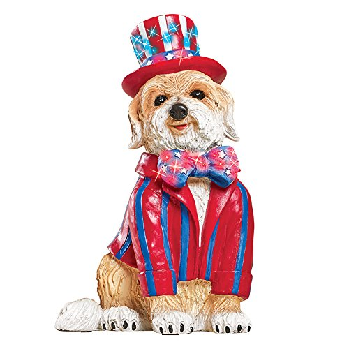 Collections Etc Patriotic Dog Garden Statue with Fiber Optic Lights - Unique 4th of July Outdoor ()