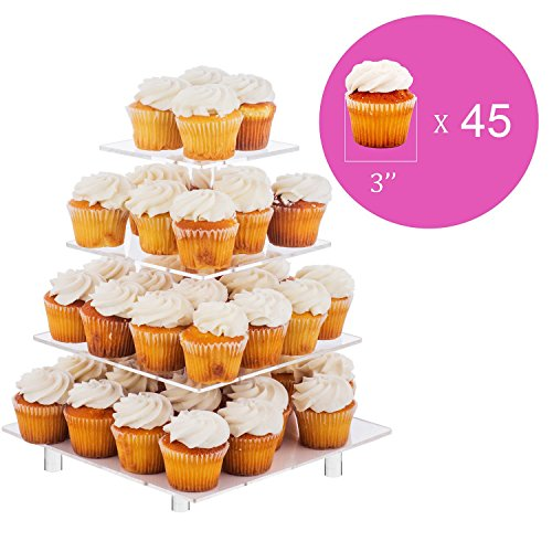 Jusalpha 4 Tier Square Acrylic Cupcake Tower Stand-Cake Stand-Dessert Stand-Cupcake holder-Pastry serving platter-Cupcake Tower for Wedding-Party Supply(4 Tier With Rod Feet) by Jusalpha (Image #2)
