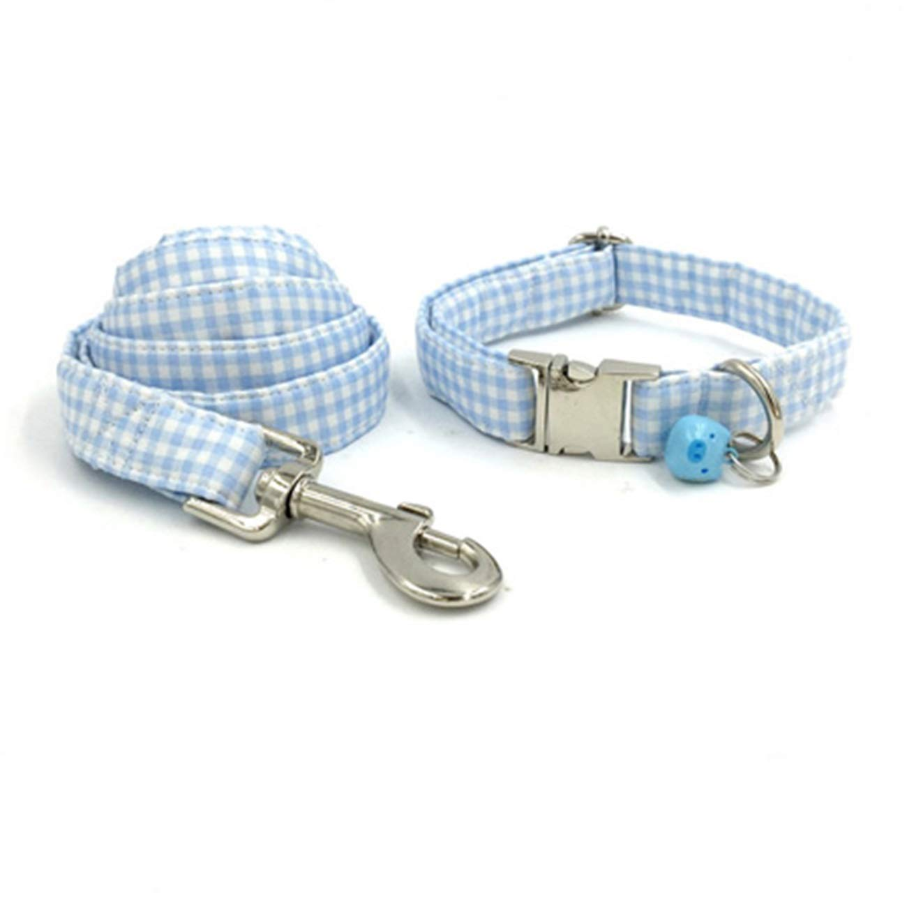 Collar and leash M collar and leash M Beatybag bluee Plaid Dog Collar with bluee Pig Bell and Bow Cotton Dog&Cat Necklace Adjustable Dog Collars and Dog Leash Pet Supply Collar and Leash M