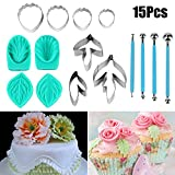 Flower Cutter Set, Justdolife Fondant Cake Decoration Tool 15PCS Gum Paste Mold Sugarcraft Icing Decorating Flower Modelling Tools