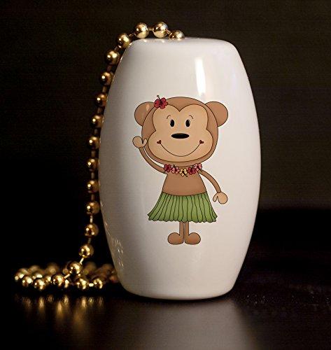 Hula Monkey Porcelain Fan / Light Pull
