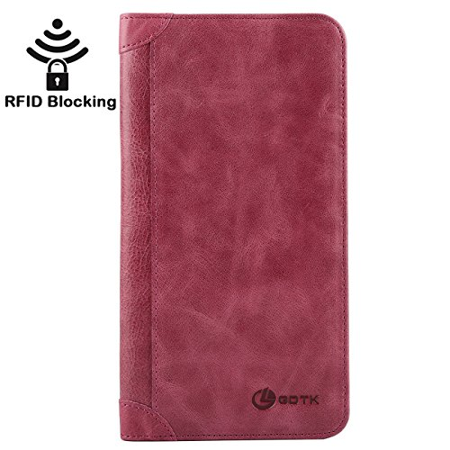 Women's Wallet - Genuine Italian Leather Long Bifold RFID Blocking Wallet (Purple) ()