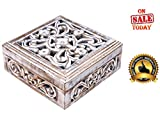 """# 1 BEST SELLING 6"""" Shabby Chic Wooden Jewelry Box - Hand Carved Decorative Keepsake Storage Trinket Box - PREMIUM QUALITY Unique Box- Completely Handcrafted by the Artisans of INDIA - Gifts for Her"""