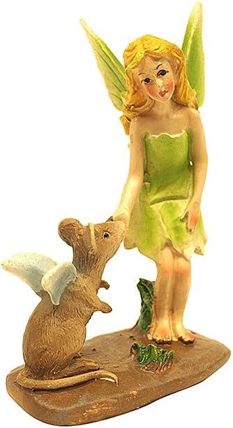 TG,LLC Treasure Gurus Miniature Fairy Girl Petting Mouse Figurine Garden Supply Mini Yard Lawn Accessory Ornament Outdoor Decor