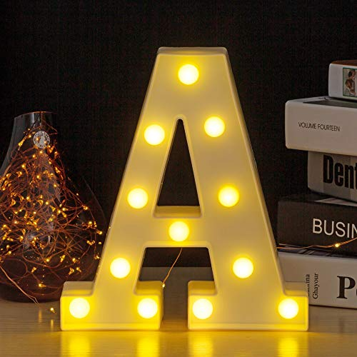 YOUZONE LED Marquee Letters LED Letter Lights Alphabet Light Up Sign Decoration Letters A - Z Symbol & (A) (Letters Metal Lighted)