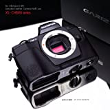 Gariz Genuine Leather XS-CHEM5BK Camera Metal Half Case for Olympus OM-D E-M5 EM5, Black
