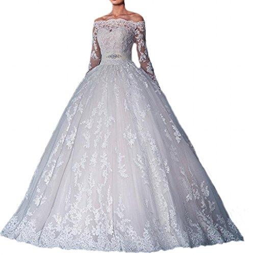 740caa8abf7 Yuxin Women s Sexy Off Shoulder Lace Wedding Dress for Bride 2017 ...