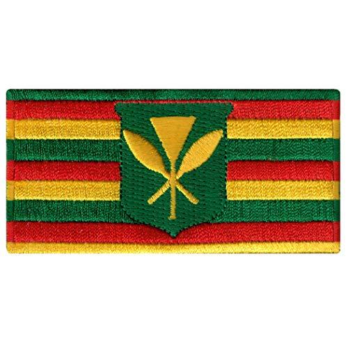 - Hawaii Kanaka Maoli State Flag Embroidered Patch Iron-On Kamehameha Hawaiian