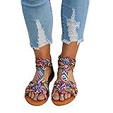 Faisean Womens Bohemian Gladiator Flat Trendy Print Ankle Strap Summer Open Toe Sandals Beach Shoes
