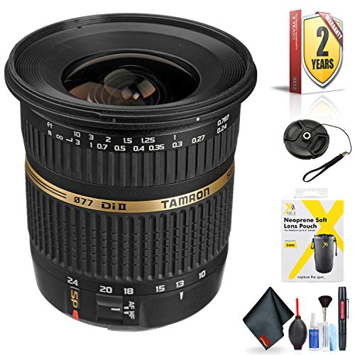 Tamron SP AF 10-24mm f / 3.5-4.5 DI II Zoom Lens for Canon DSLR Cameras for Canon EF-S Mount + Accessories (International Model with 2 Year Warranty)