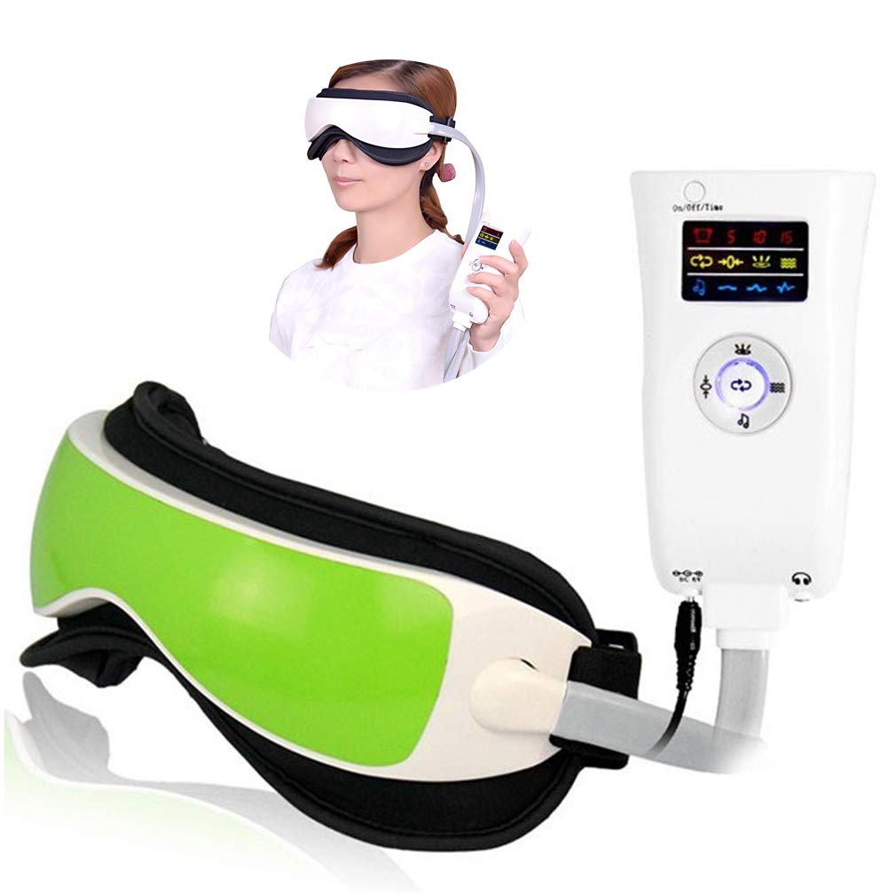 Electric Eye Massager,Hot-compress Eye Care Wireless Eye Massager,Vision Training Equipment,Relax Eyes Reduce Dark Circles Improve Sleeping,Green