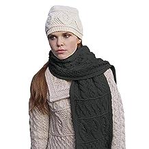 100% Irish Merino Wool Diamond Scarf by West End Knitwear (Charcoal)